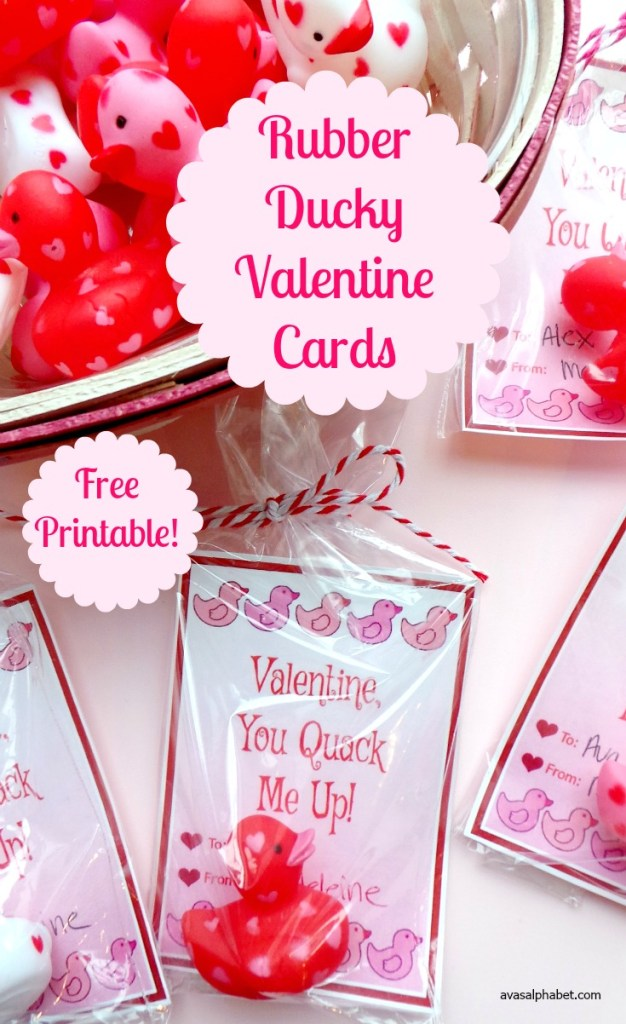 Adorable Rubber Ducky Valentine Cards - free printable