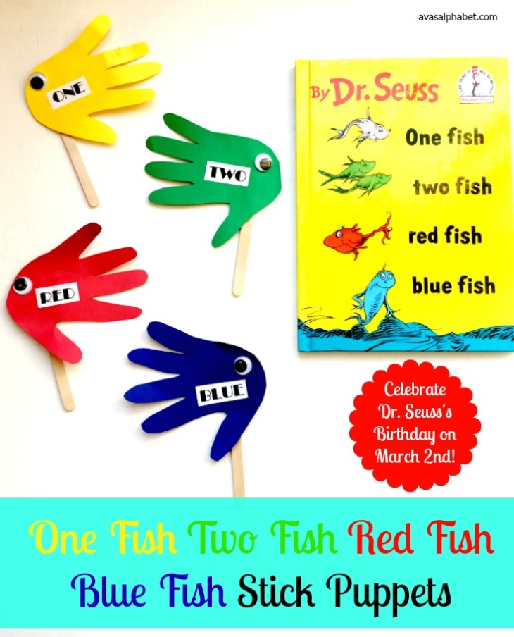 One Fish Two Fish Red Fish Blue Fish Stick Puppets from Ava's Alphabet