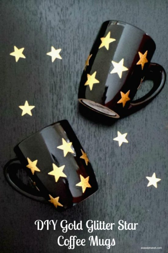 Gold Glitter Star Coffee Mugs - Ava's Alphabet