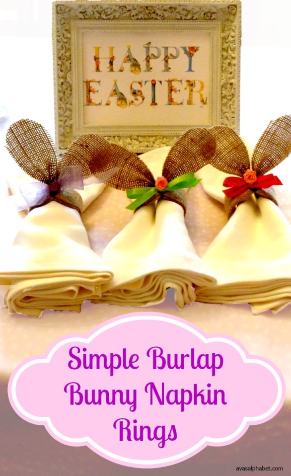 Simple Burlap Bunny Napkin Rings for Easter from Ava's Alphabet