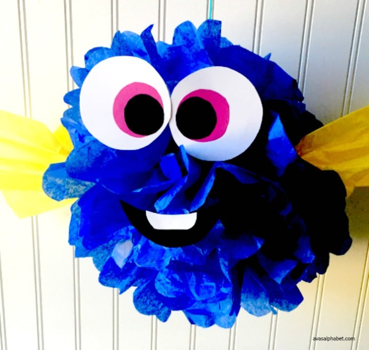 Finding Dory Inspired Tissue Paper Pom Fish from Ava's Alphabet