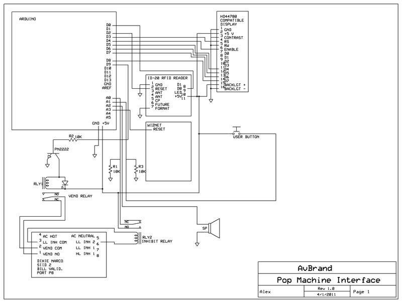 Ac Circuit Diagram Wiring Schematic Avbrand Com Projects Popcard Pop Machine Cash Card
