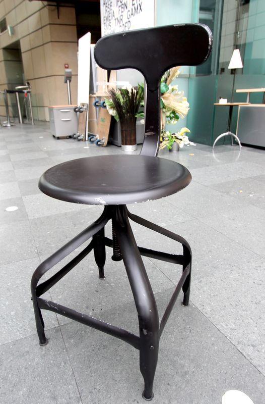 Chaise De Bar Modele Telegraphe En Metal Peint Noir