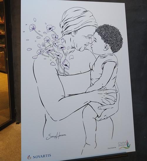 Ilustración abuela con nieto