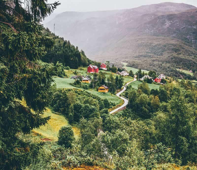Small village of Naeroydalen Valley