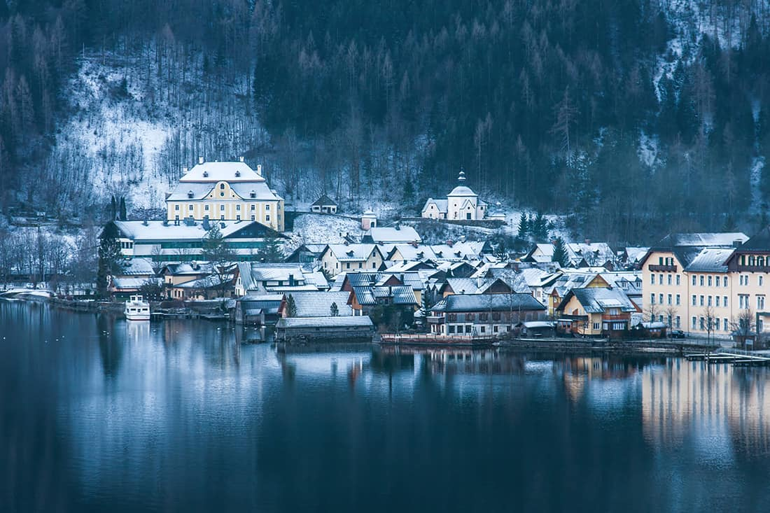 Small historical city Hallstatt in winter Austria
