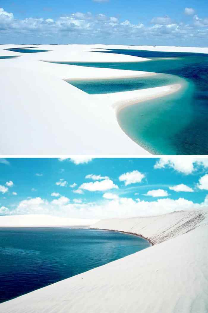 Lençóis Maranhenses National Park, Maranhão, Brazil. Ever been to a beach with giant ice cubes all over? Or what about a reandom hole in the ground that opens up into a beautiful beach! Click through to see 15 more of the world's most unique & awesome beaches!