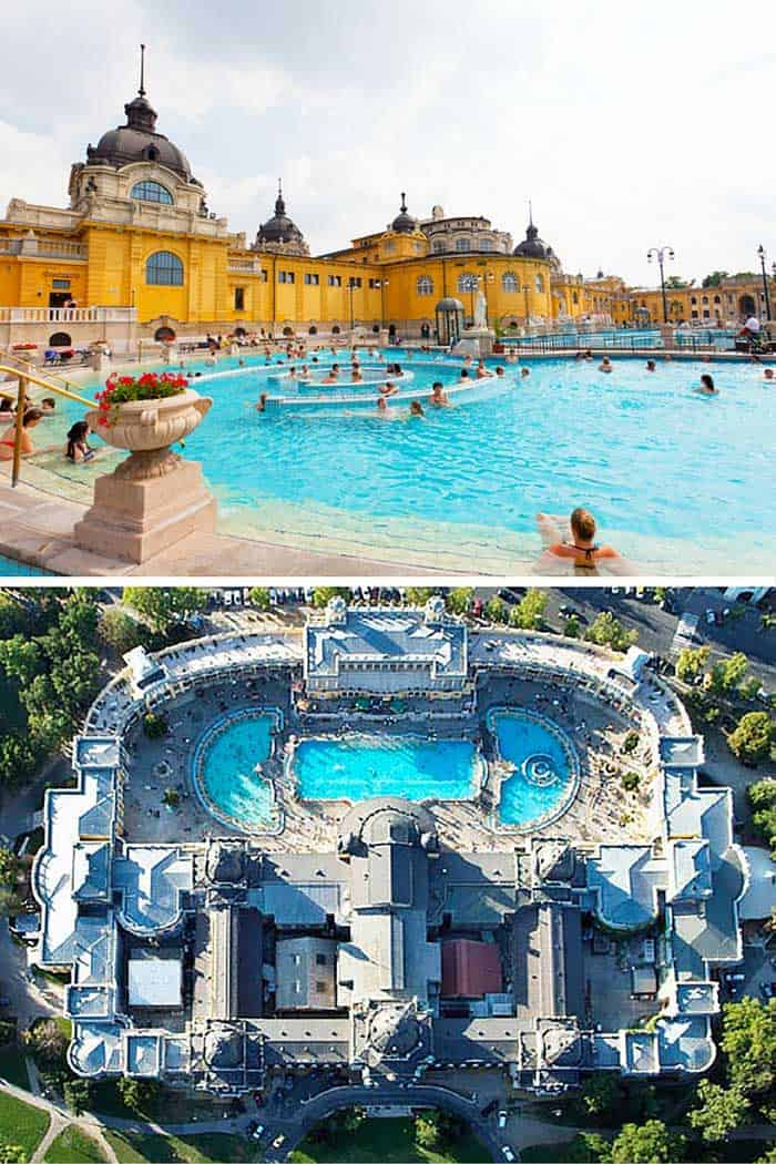 The Széchenyi thermal bath is the largest wellness pool in Europe. Not only are the waters theraputic, but the grounds make you feel like you are the resident of a grand palace. Click through to see 20 more of the best pool in the world!