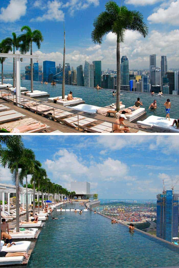 Marina Bay Sands Resort , Singapore ! Have you ever wanted to swim 57 stories up in the air? How about swimming that high and gazing off the end of an infinity pool at one of the best skylines in the world. Click through to see 20 more of the best pools in the world!