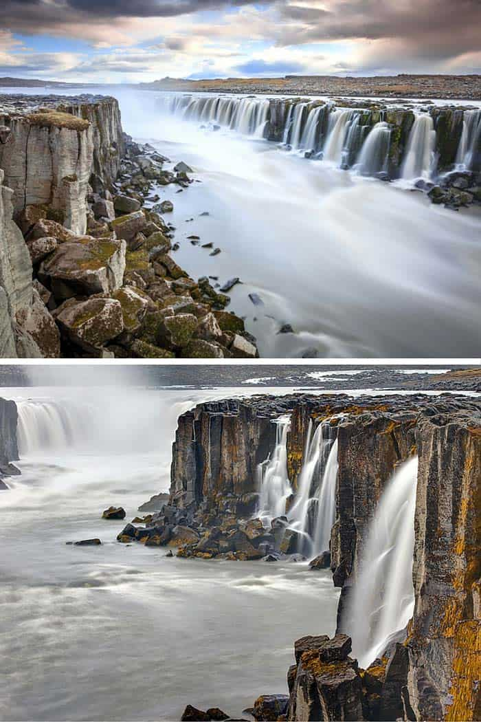 Selfoss waterfall in Iceland! One of the things that makes this waterfall so spectacular is that it is not just a single waterfall, but a series of small waterfalls. Click through to see 15 of Iceland's BEST waterfalls.