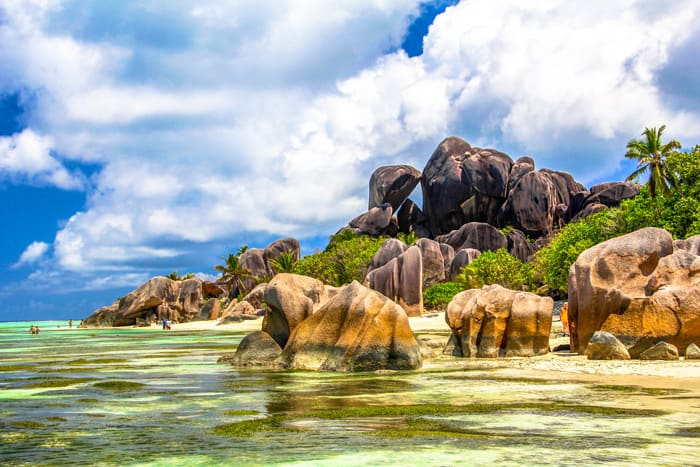 Beaches on La Digue island. The third largest island in the Seychelles.