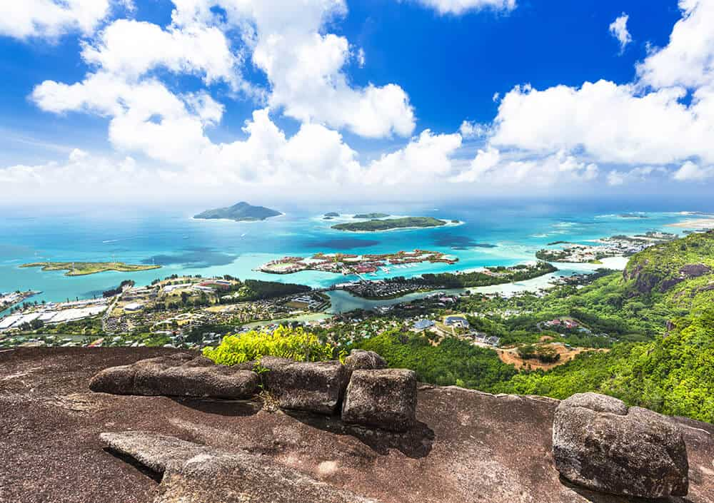 View from Copolia Trail on the island of Mahe in the Seychelles. Read the ultimate travel guide on Avenlylanetravel.com