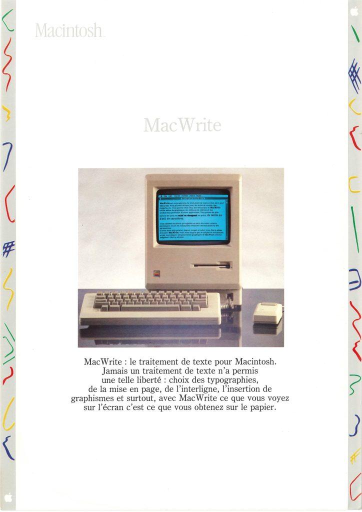 Brochure Macintosh SEEDRIN : MacWrite