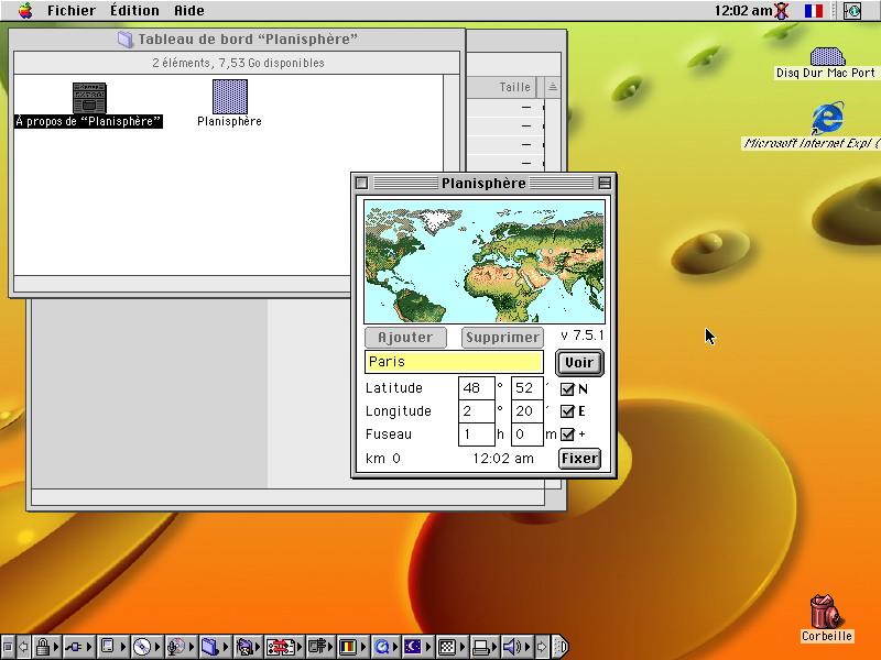 Planisphère Mac OS 8
