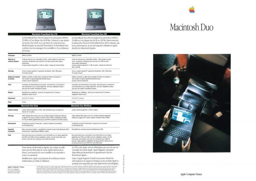 Apple Brochure Macintosh PowerBook Duo 210 et 230