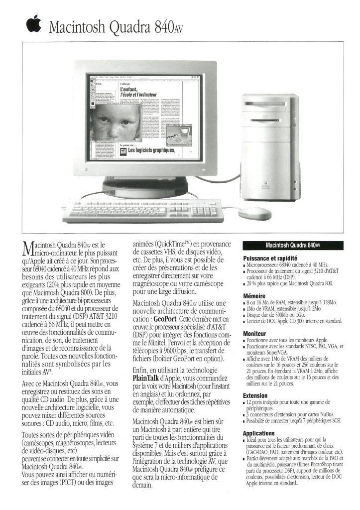 Macintosh Quadra 840AV tech specs