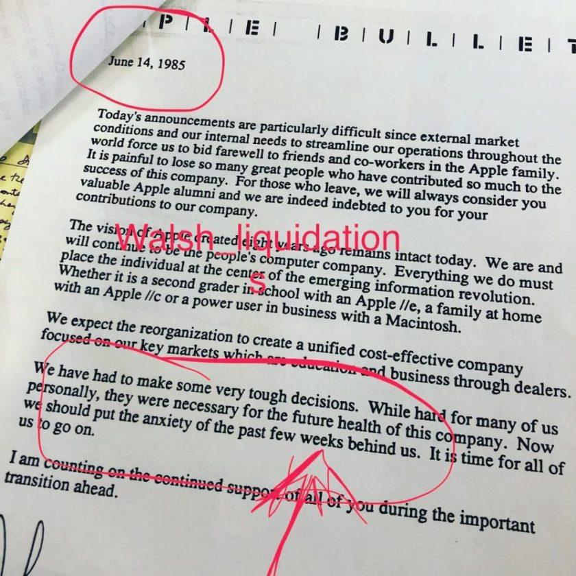 John suclley memo after Steve jobs leaving Apple