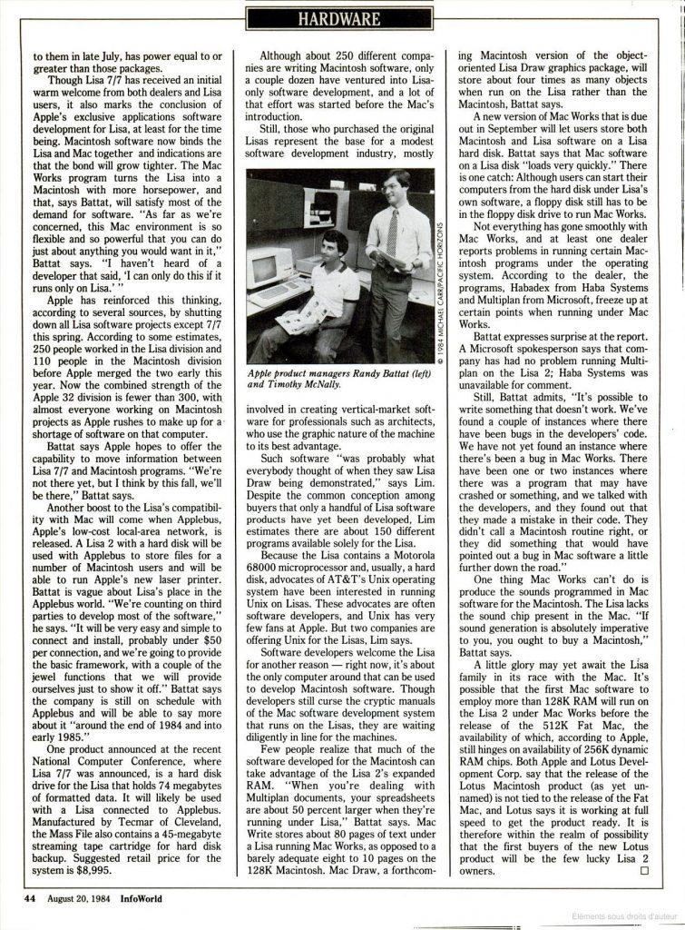 InfoWorld 1984 Lisa Apple