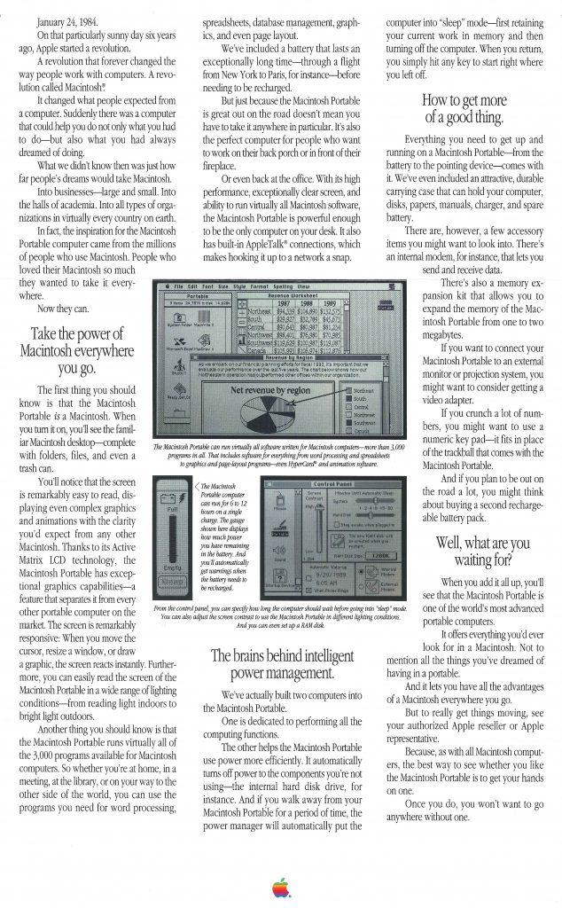 Macintosh Portable 1989 pamphlet