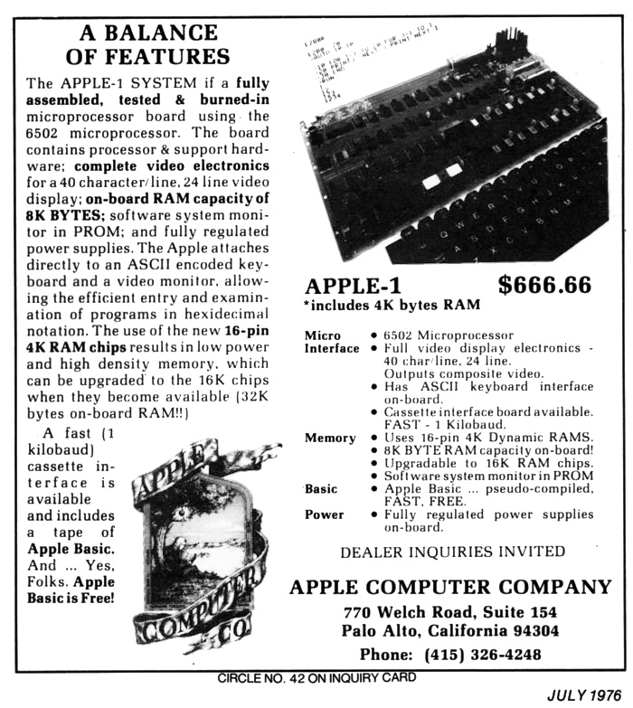 L'Apple « 1 » – L'Aventure Apple
