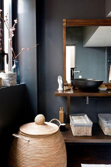 salle-de-bain-deco-nature-mur-noir