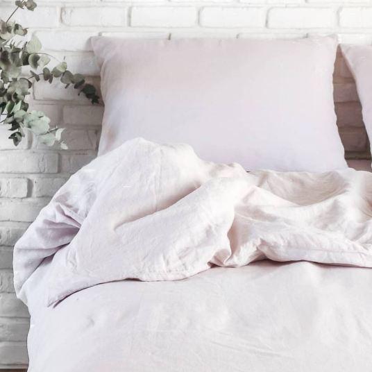 parure de lit en lin rose proposé par maison most
