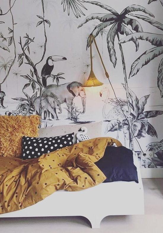 papier peint tropical pour une chambre