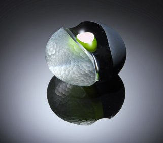 """""""Carved 2010/02"""", Cased Glass, hollow inner, green over white. 160 Ø x 100. Overlaid with black, partially removed. Deep Carved, battuto surface finish."""