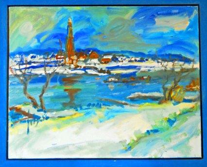 """Jits Bakker, """"IJssel"""", olieverf, 100 x 80 cm."""