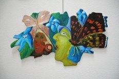 """Anne-Maria Waterreus, """"Vlinderfeest"""", olieverf op canvas op paneel, 80 x 40 cm."""
