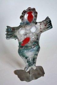 """Peter Huntelaar, """"Grote Zeemeermin"""", gegoten glas op rvs voet, 61 x 32 cm."""
