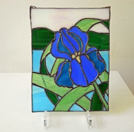 "Harm van Kamp, ""Bloem blauw"", Tiffany 19 x 26 cm. n.t.k."