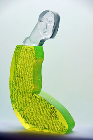 "Beata Stankiewicz-Szczerbik, ""Uranium"", kiln cast glass, grounded, polished, 28x49x8 cm, 17 kg."