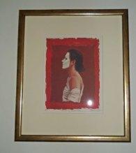 """Ans Markus, gesigneerde print van schilderij """"Masker"""", tbv veiling voor Leergeld Epe., 42x36 cm incl. lijst, zonder 26x20 cm."""