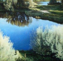 """Pauline Luijben, """"Weerloos water"""", acryl op doek, 100 x 100 cm."""