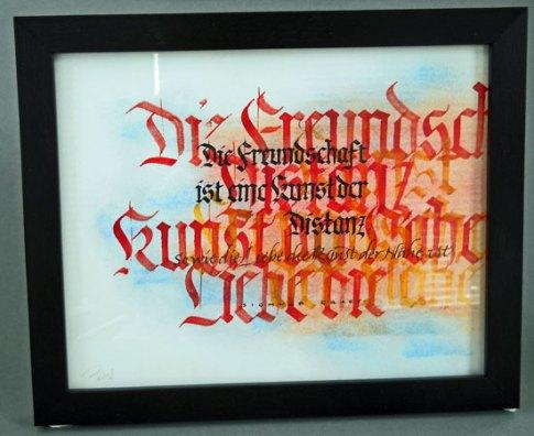 """Bas Vlam, """"Freundschaft"""", kalligrafie."""