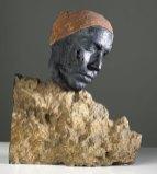 Mari Meszaros, Late Autumn, marbriet glas, roest, basalt steen, 35 x 40 x 6 cm.