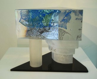 Lubomir Ferko, Three Steps to Heaven, crystal glass & compisition glass, 24 x 28 cm.