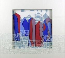 """""""Fight for a Home"""", 2015, zeefdruk, linodruk, reliëfdruk, sjabloondruk op handgeschept papier. Witte acrylinkt beschrijving, 50 x 50 x 4 cm incl."""