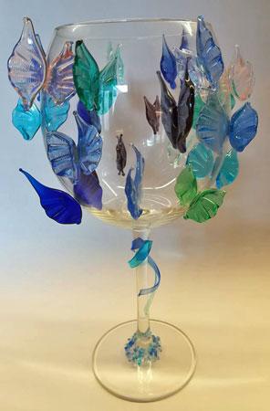 'Vlinders', aan de brander gemaakt, hoog 23 cm.