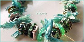 """Ketting """"Ishara"""" glasschijfjes van Moretti zachtglas en zilverglas, combi met Sari Silk."""