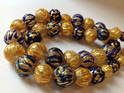Collier Murano-glas met bladgoud-folie en lampwork decoraties - 45 cm