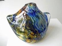 Glassculptuur Nr. 2719 - door metaal geblazen glas, 26 x 20 cm.