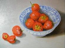 Aardbeien in kom - olieverf, 30 x 24 cm.