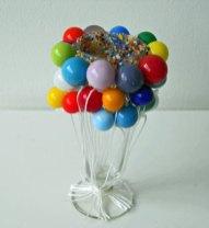 Carnaval - geblazen glazen balonnen, hoog 20 cm.