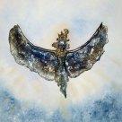 Zielevogel - Beeldpaneel Epoxy reliëf op olieverf paneel met doek, 80x80 cm.