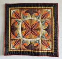 Spinning around the block - Diverse kleuren zijde, oranje bruin goud zilver, 80 x 80 cm