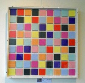 Compositie in kleur, acryl op MDF, 63 x 63 cm.