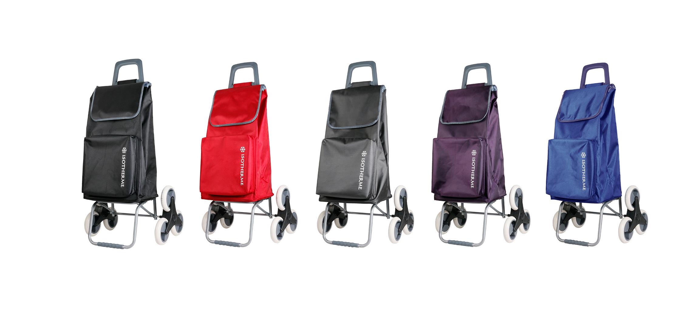 chariot de courses de marche a 6 roues et poche isotherme