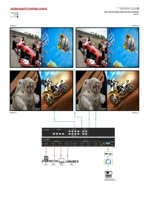 4x4 HDMI Matrix Switcher with Video Wall Function and Audio [HDMSWITCHPROVW4] : Avenview